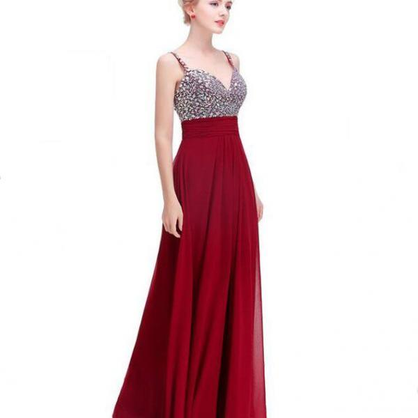 Luxury Prom Dress Long Sexy Backless Beading Sweetheart Chiffon Formal Elegant Bride Evening Party Gowns - Wine Red