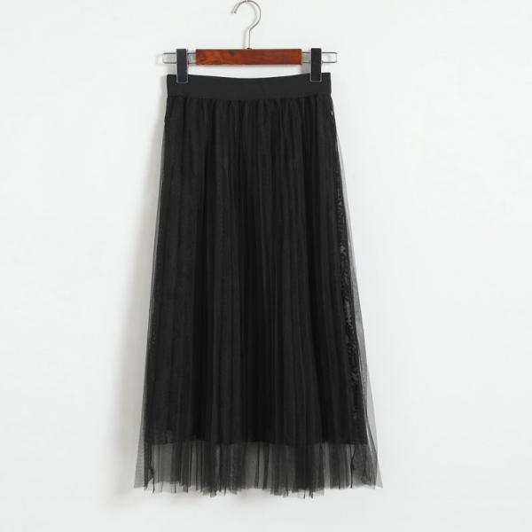 Women Gauze Elastic Waist Skirt - Black
