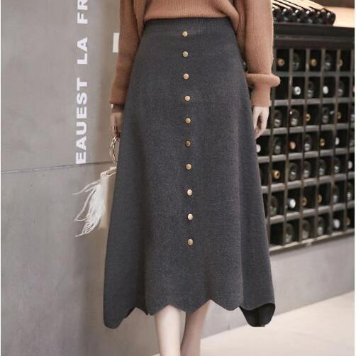 Women High Waist Knit Winter A Line Midi Skirt - Grey