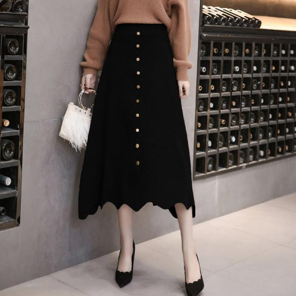 Women High Waist Knit Winter A Line Midi Skirt - Black