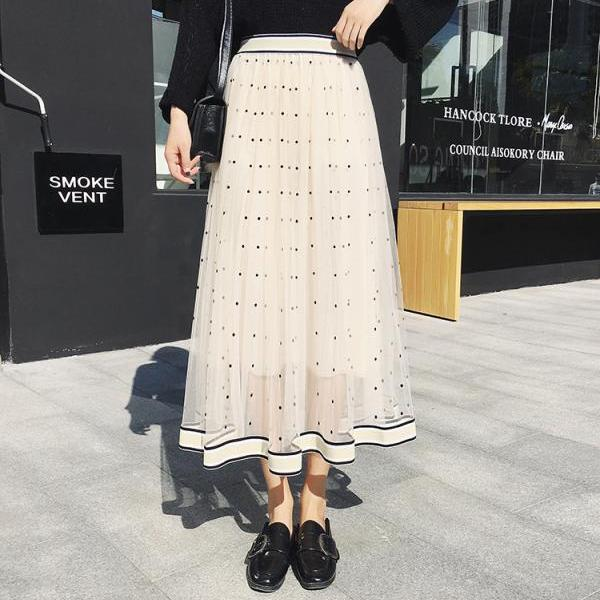 Women Gauze Polka Dot Print High Elastic Waist Skirt - Beige