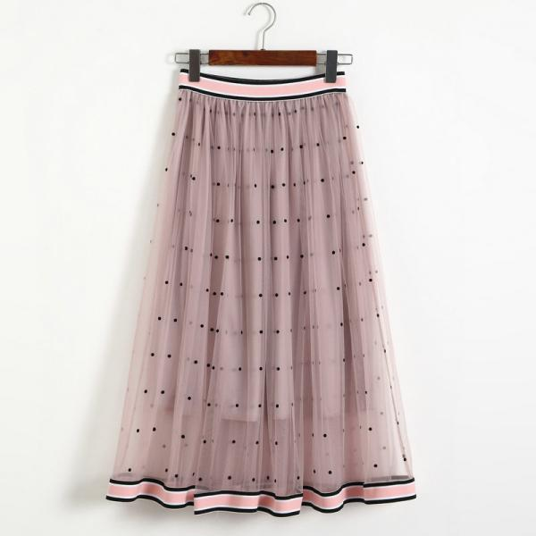 Women Gauze Polka Dot Print High Elastic Waist Skirt - Pink