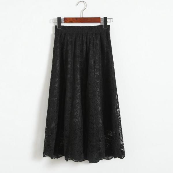 Women High Waisted Floral Lace Pleated Midi Skirt - Black
