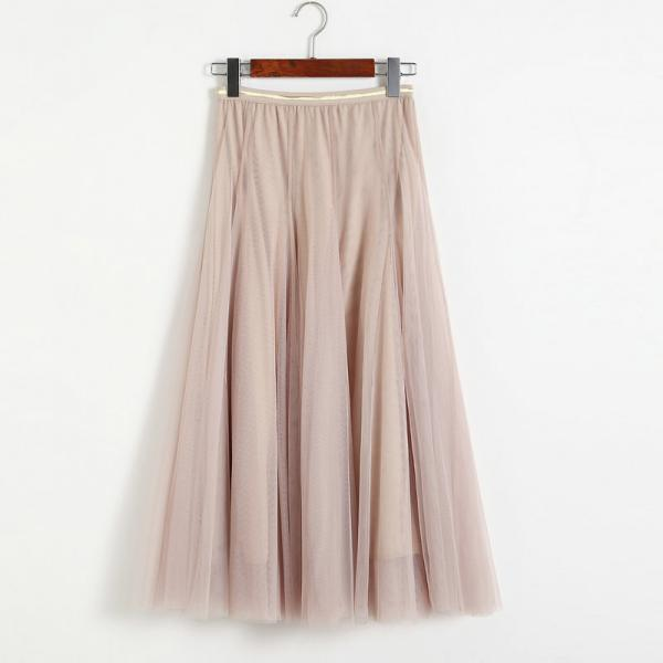 Women Elastic High Waist Pleated Skirt - Beige