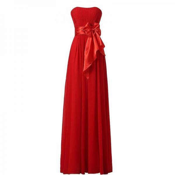 Chiffon Bow Bridesmaid Wedding Party Dress - Red
