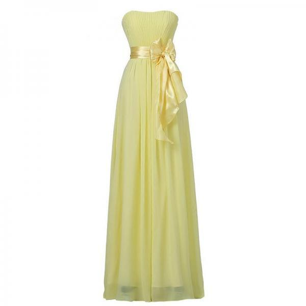 Chiffon Bow Bridesmaid Wedding Party Dress - Yellow
