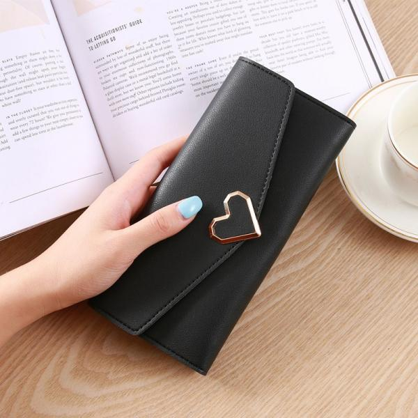 Heart Shaped Wallet PU Leather Card Holder Women Girl Purse Bag - Black