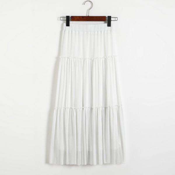 New Women Pleated A-line Skirt - White