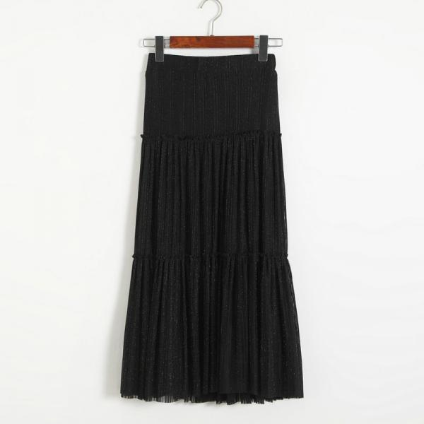 New Women Pleated A-line Skirt - Black