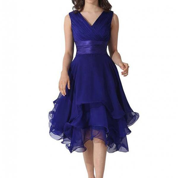 Chiffon Deep V Neck Prom Evening Gown Bridesmaid Dress - Blue