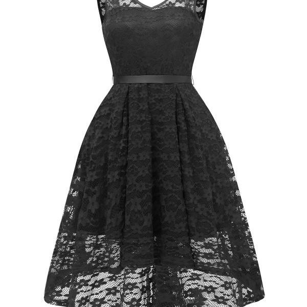 Women V Neck Irregular Floral Lace Dress Sexy Backless Slim Swing Dress - Black