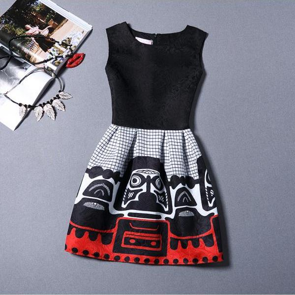 New Black Girl Pattern Sleeveless Vest Dress