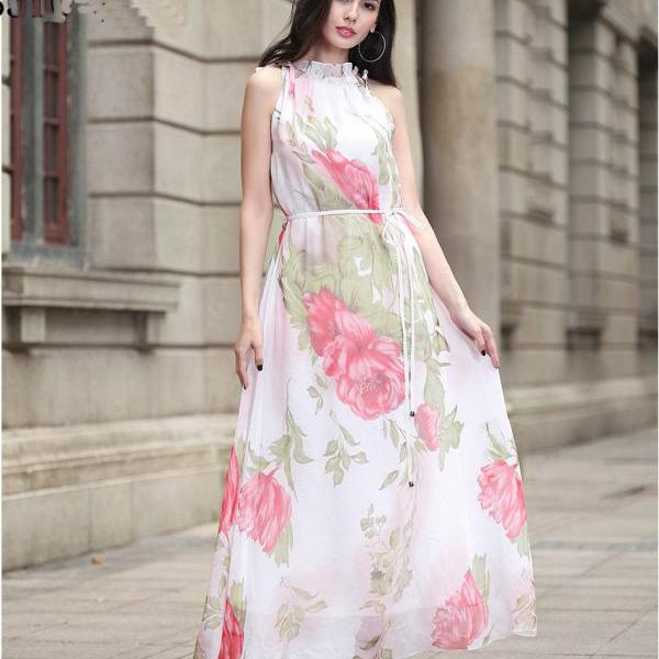 Fashion Women Halter Neck Printed Long Maxi Dress With Belt - White
