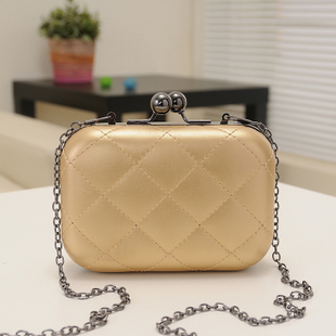 Candy-Color Evening Clutch Party Bridal Fashion Chain Mini Lingge Bags Clutch Handbag-Gold
