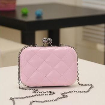 Candy-Color Evening Clutch Party Bridal Fashion Chain Mini Lingge Bags Clutch Handbag-Pink