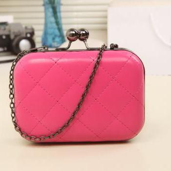 Candy-Color Evening Clutch Party Bridal Fashion Chain Mini Lingge Bags Clutch Handbag-Rose