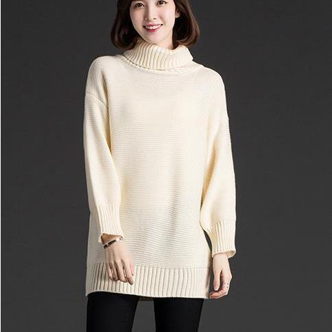 New Women Fashion Turtleneck Sweater Women Shirt - White