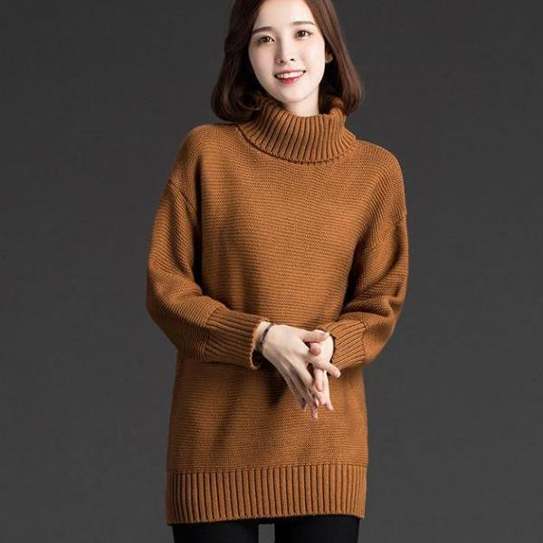 New Women Fashion Turtleneck Sweater Women Shirt - Brown
