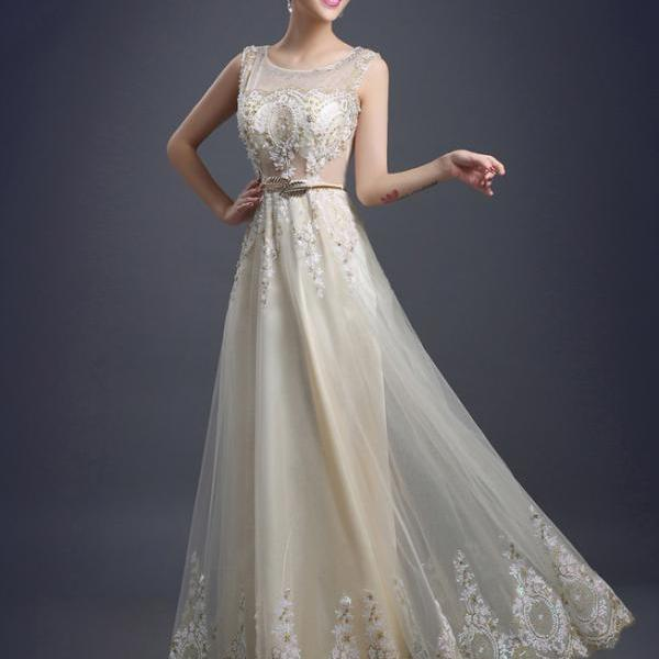 Tulle Lace Evening Dress Long Beading Formal gown Prom Embroidery Bride Dresses - Beige
