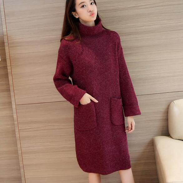 New High Neck Pocket Long Sleeve Knit Sweater - Wine Red