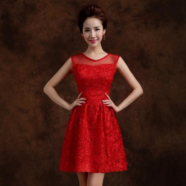 Red Elegant Solid Lace Sleeveless A Line Party Short Dress