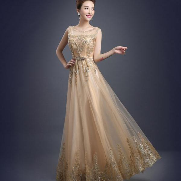 Tulle Lace Evening Dress Long Beading Formal gown Prom Embroidery Bride Dresses - Gold