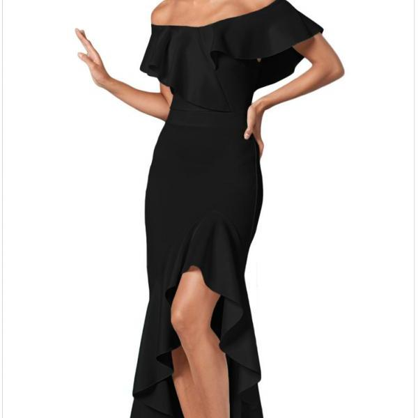 High Quality Off Shoulder Long Dress - Black
