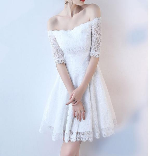 Women's Vintage Elegant Boat Neck Off Shoulder Half Sleeve Lace Dress