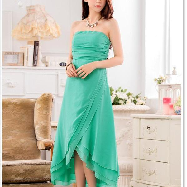 Chiffon Sleeveless Long Evening Party Dress Bridesmaid Wedding Dress - Green