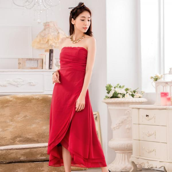 Chiffon Sleeveless Long Evening Party dress Bridesmaid Wedding Dress - Red
