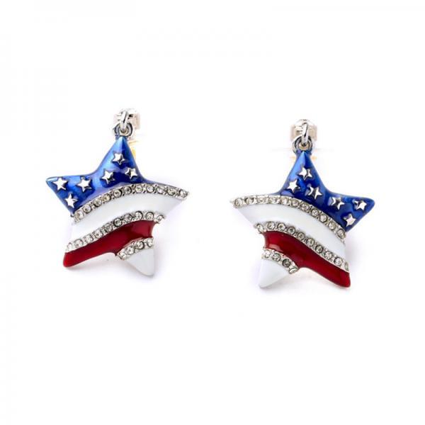 Rhinestone Decorated Star Shape Design Earrings