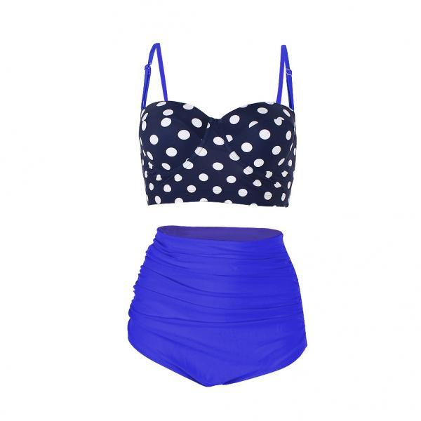 High Waisted Polka Dot Bikini Swimsuit Swimwear - Blue