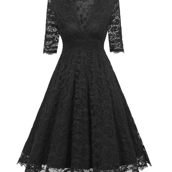 Women's Vintage Deep V Neck Slim Floral Lace Dress - Black