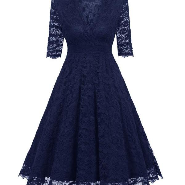 Women's Vintage Deep V Neck Slim Floral Lace Dress - Navy Blue