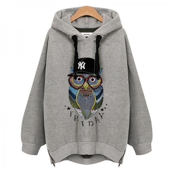 Plus Size Women Hoodie Owl Print Pullover Autumn Winter Long Sleeve Women Sweatshirt Female Tops Warm