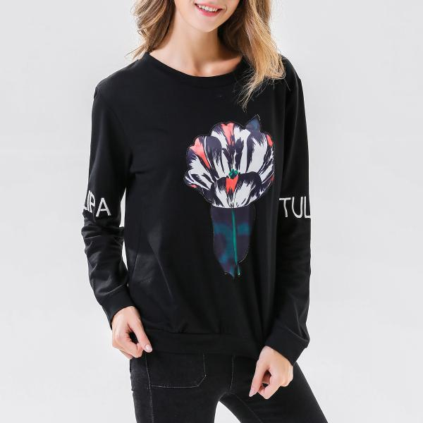 Autumn Winter Print O neck Long Sleeve Top Women Shirt