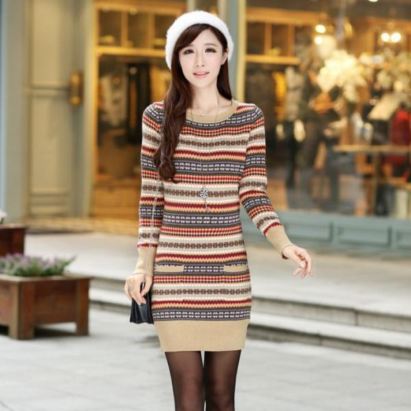 New Women Printing Long sleeved slim sweater Dress