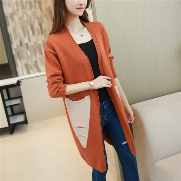 Long Cardigan Women Autumn Winter Female Long Sleeve Cardigan Slim Pockets Sweater Knitted Cardigans Women Tops - Brown