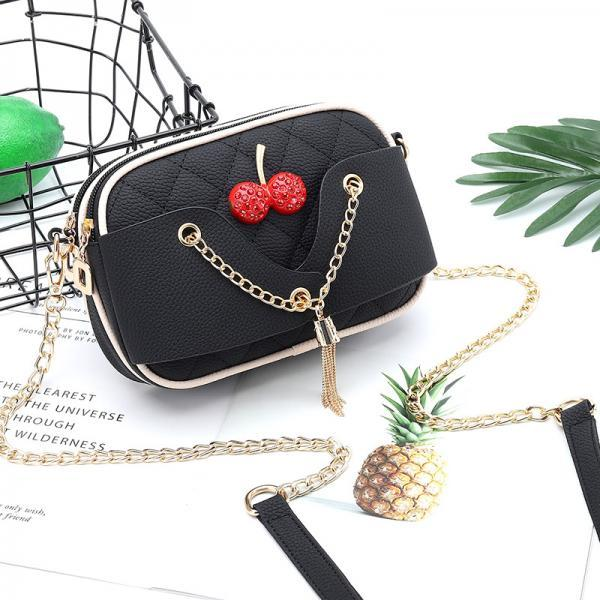 Lovely Women Mini PU Leather Shoulder Bag - Black