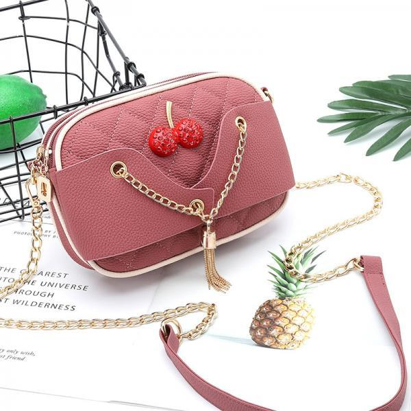 Lovely Women Mini PU Leather Shoulder Bag - Pink