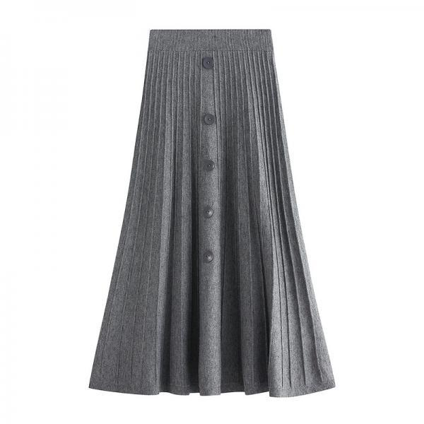 New Knitted Medium And Long Skirt - Grey