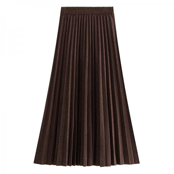 Pleated skirt Autumn and Winter Women's High waist long skirt