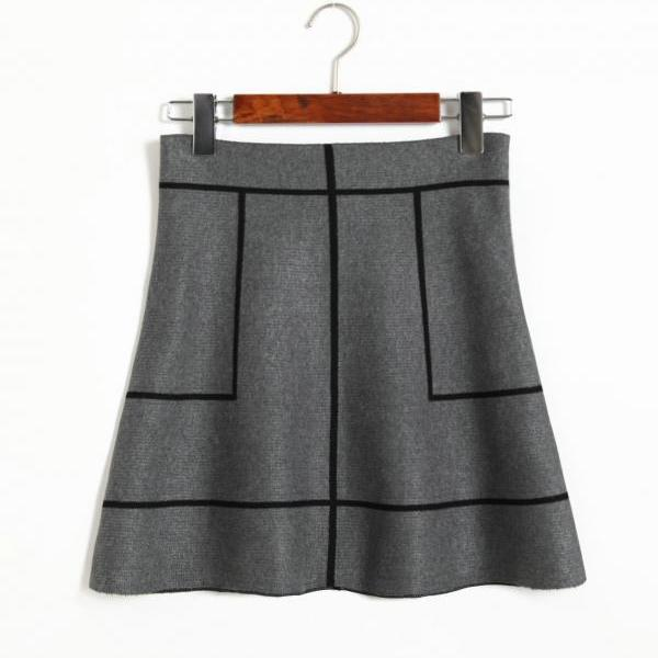 New Sweet A-line Knit Thin Skirt - Grey & Black
