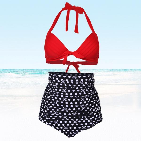 Good Quality Skull Head Pattern Women High Waist Swimsuit Swimwear Bikini