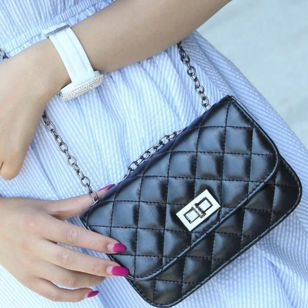 Good Quality Women Leather Handbag Shoulder Bag Black Plaid Small Bags PU Mini Bag