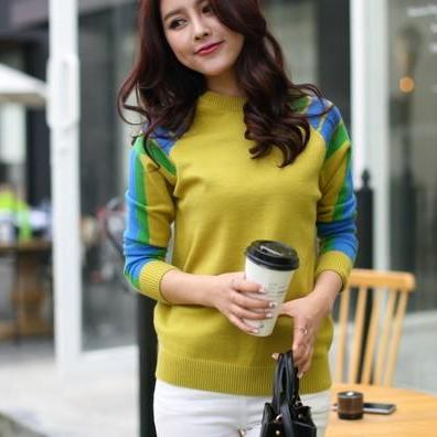 new winter women knit Color matching pullover Sweater shirt