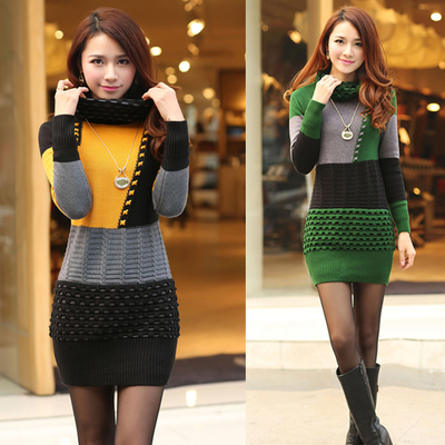 Nice Women Turtle Neck Slim Knitted Sweater Dress New
