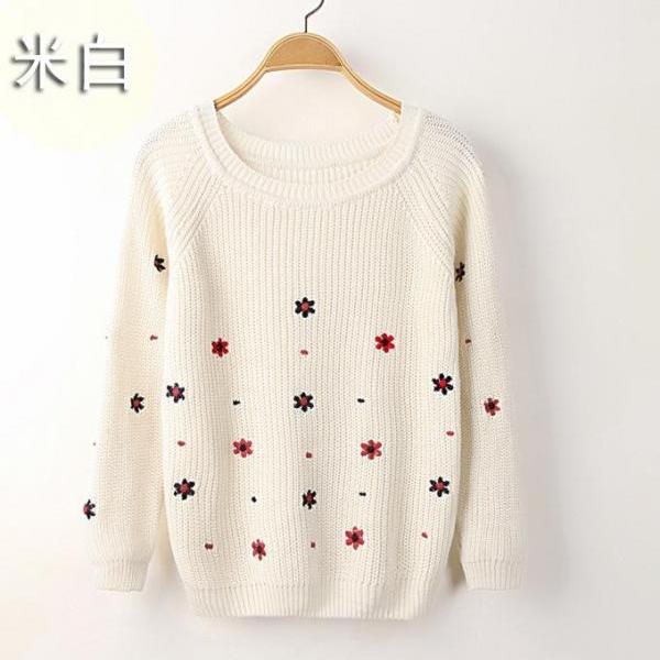 Cute Women FLOWER Pattern long sleeved sweater Student Sweater
