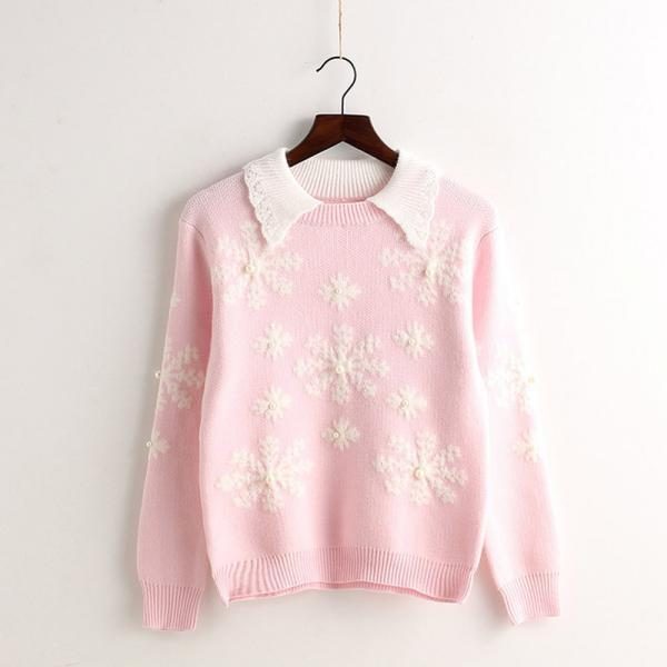 Cute Snow Pattern Women Round Neck Long Sleeve Pullovers Sweaters