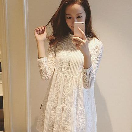 Women Big Size Long sleeve Lace Dress